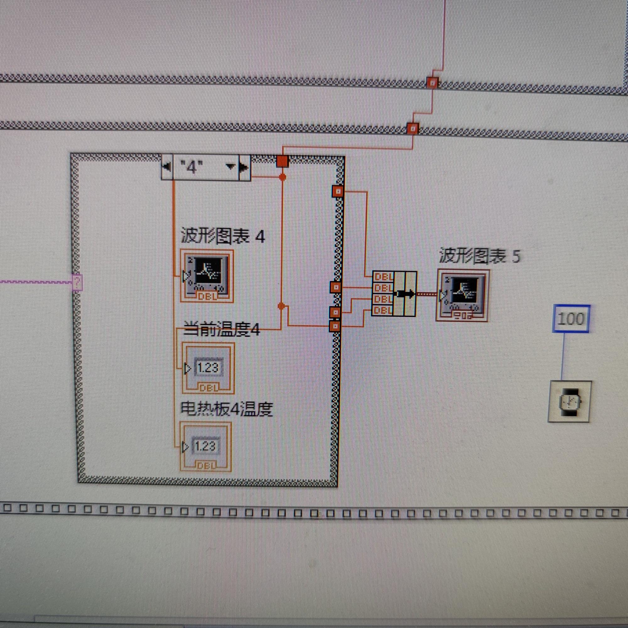 我用labview循环从一个串口向四台下位机发送指令,如何让四台下位机的回传数据同时输入波形图?
