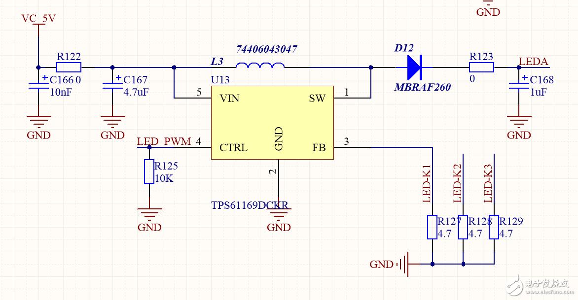 LED背光芯片TPS61169升压不够只有8.5V