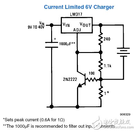 LM317设计的6v限流充电器的原理解释