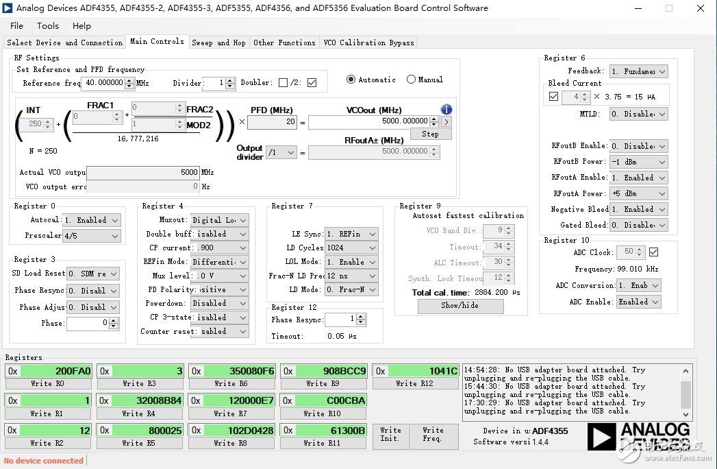 ADF4355输出频率偏小