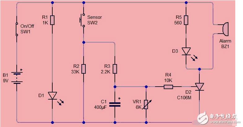 基于晶闸管电路的传感器报警系统