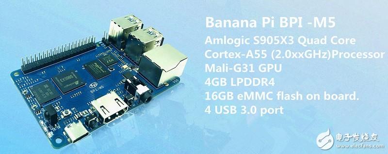 香蕉派 BPI-M5单板计算机,采用Amlogic S905X3 四核A55 64位处理器设计