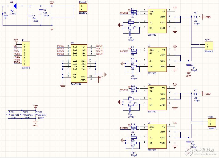 BTS7960双电机驱动板(PCB及原理图)-电赛资料特别分享