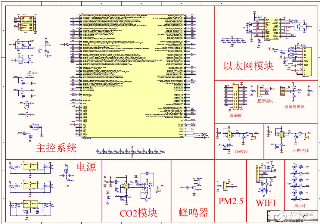 室内空气净化监测系统(硬件原理图+PCB+源码+手机APP等)
