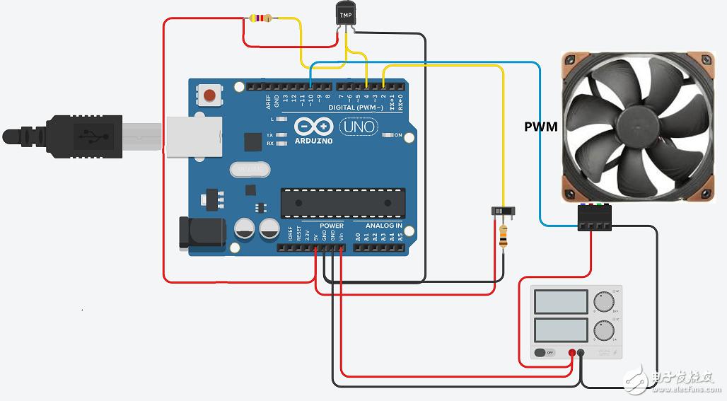 PWM风扇控制器(具有温度感应和按钮超控功能)资料(原理图+源代码)
