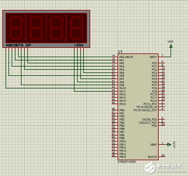 STM32F103单片机控制四位共阴数码管显示数字,proteus仿真