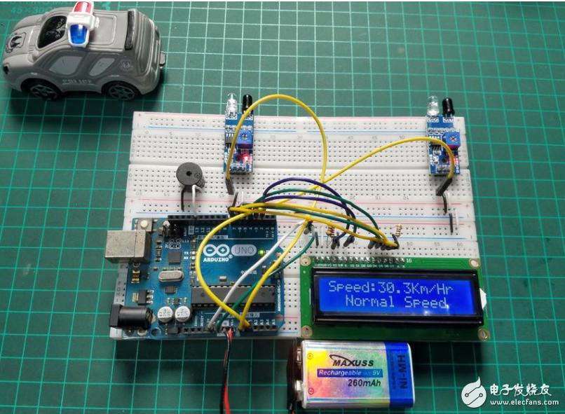 【开源资料】基于Arduino和红外传感器的汽车速度检测器