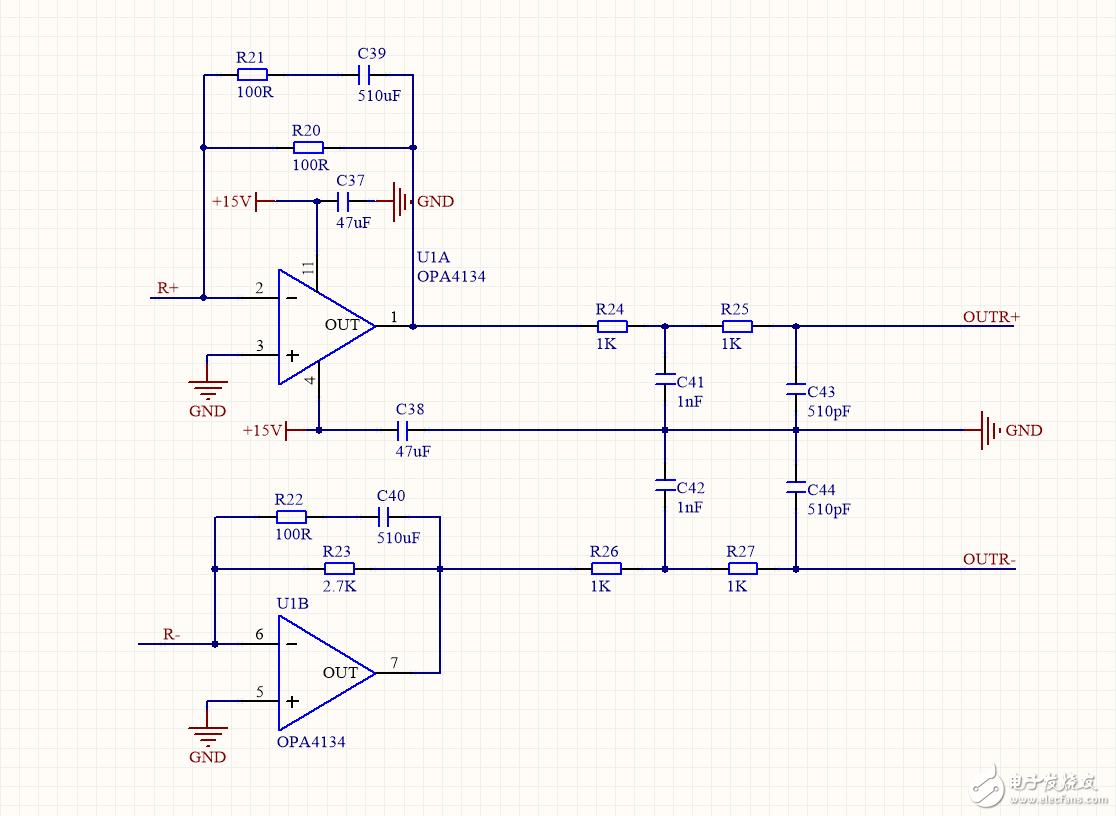 OPA4134 IV转换差分信号转为单端信号