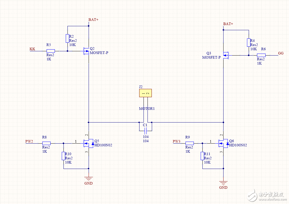 请问我这样用4个MOS控制电机的正反转 可行么?