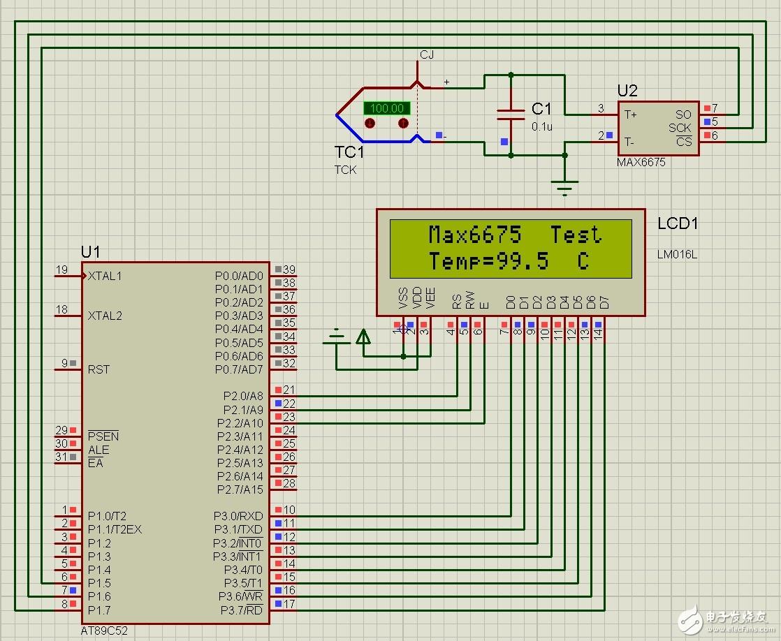 Proteus仿真熱電偶測溫(Max6675+LCD1602)
