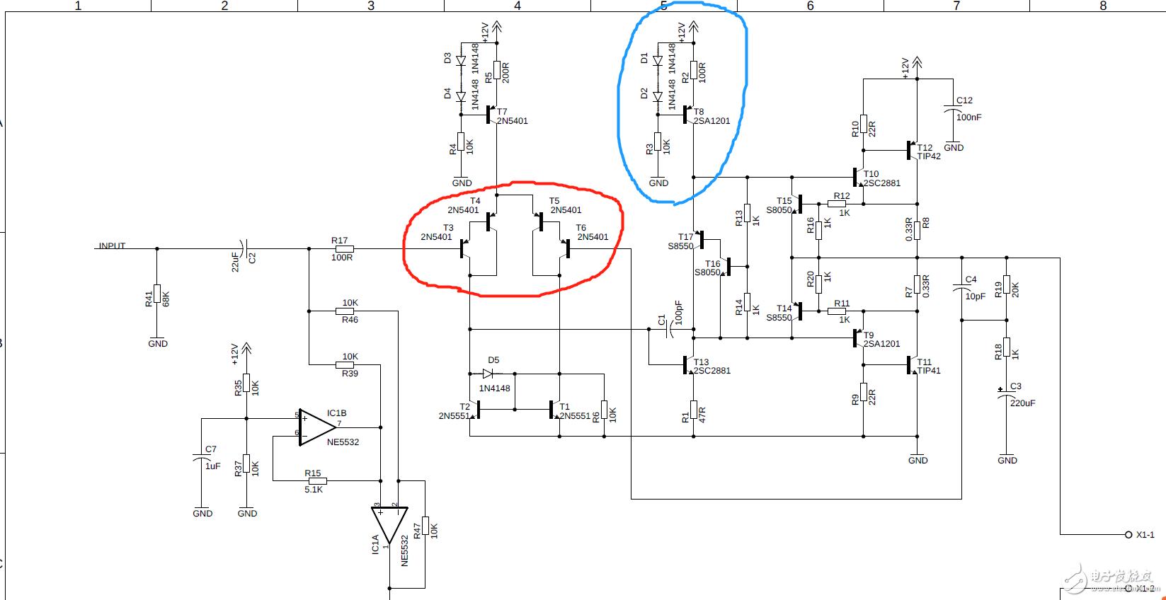 請問在這個信號處理與功放電路里,這四個三極管的作用是什么,以及工作原理?