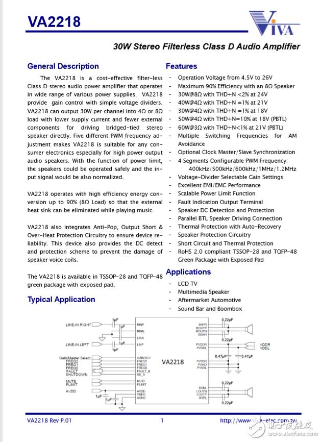 2*30W Filterless Stereo Class D Audio Amplifier