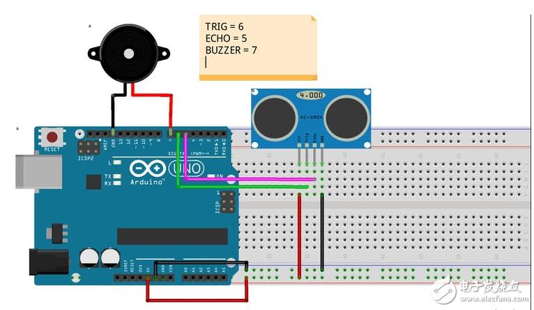 开源资料基于Arduino的倒车雷达(原理图&源代码)