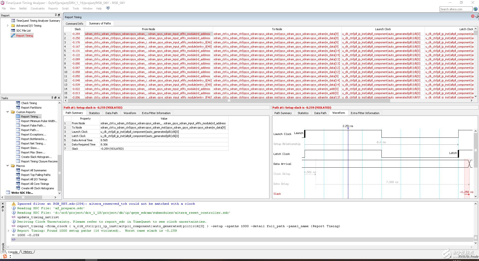 一个关于QSYS SDRAM的时序约束问题