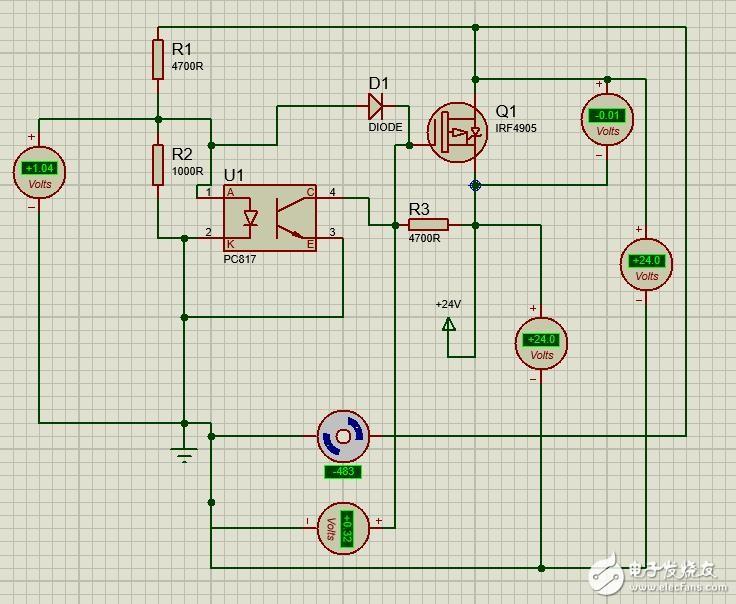 PMOS用作二极管的电路proteus仿真疑惑