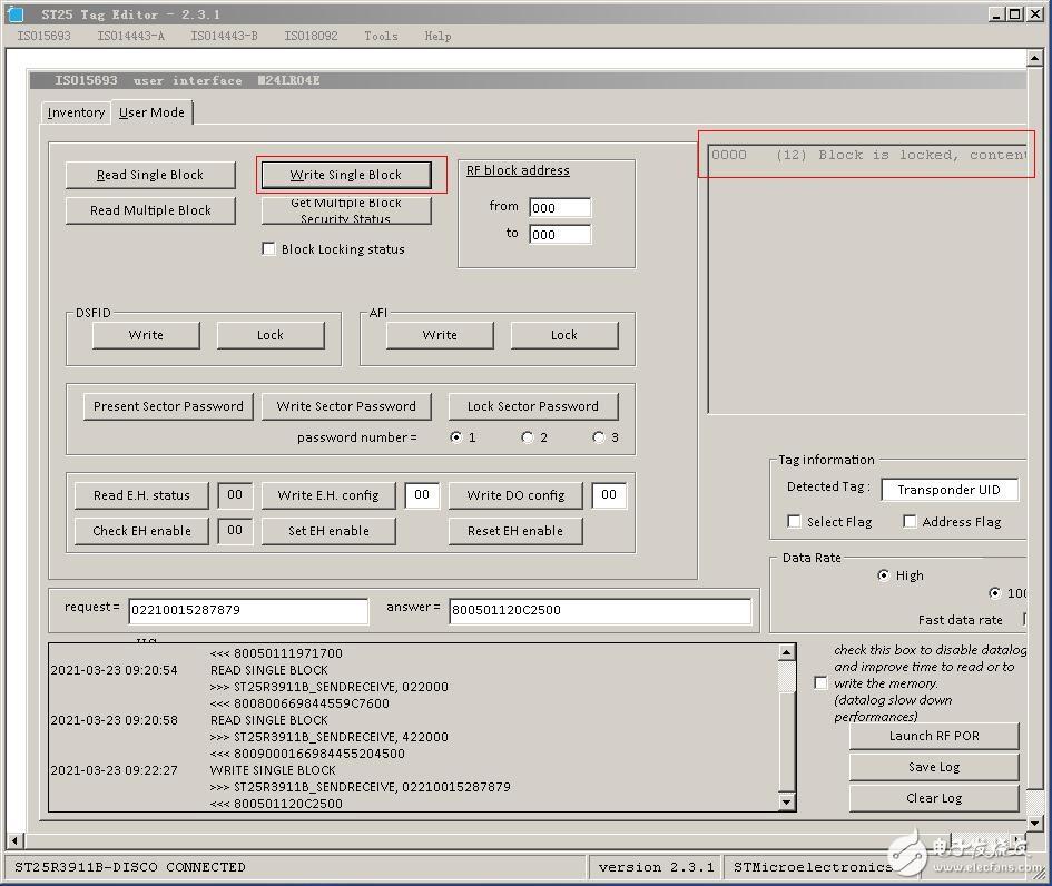 ST芯片M24LR04E在RF模式下扇區被鎖住,如何解鎖