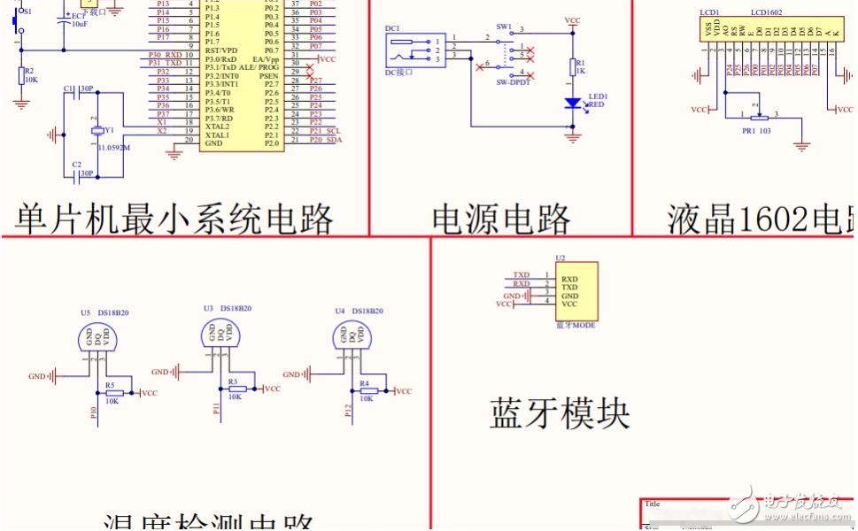 【电路设计】基于51单片机的三路温度检测上传设计-DS18B20-LCD1602-蓝牙-(电路图+程序)