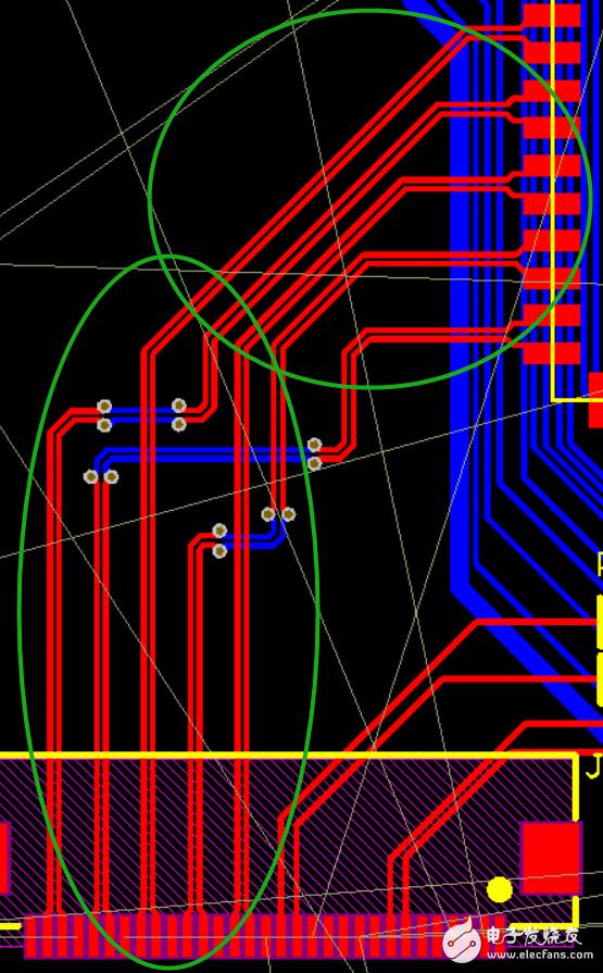 這個是MIPI屏的五對差分線,這樣過孔走線合適嘛?