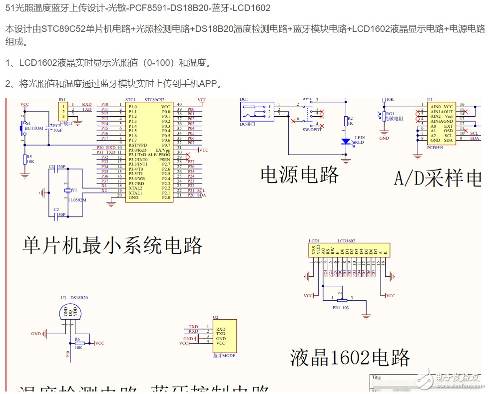 【电路设计】基于51单片机的光照温度蓝牙控制设计-DS18B20-蓝牙-(电路图+程序)