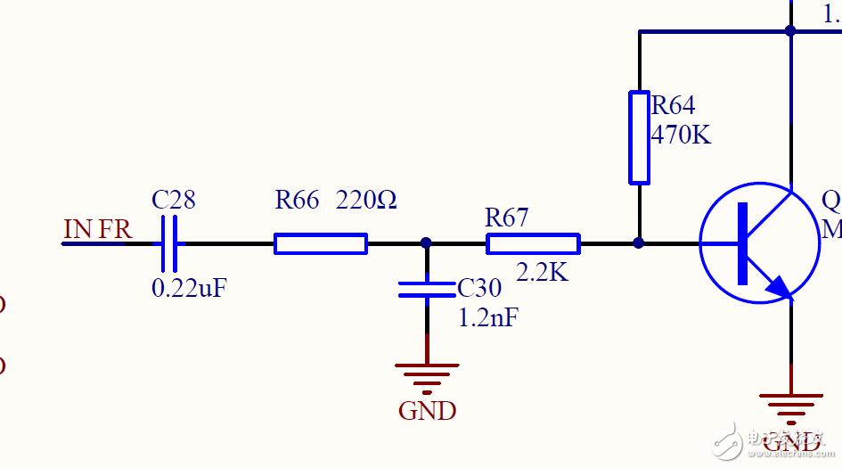 各位大佬,此处的220Ω和1.2nf是否组成了低通滤波,截止频率1M左右?