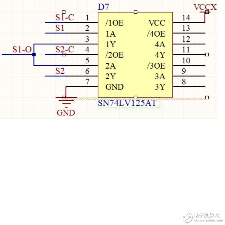 用一個SN74LV125AT芯片,兩通道,一路的一個輸入和另一路的輸出互接,為什么芯片不過,經過芯片無輸出