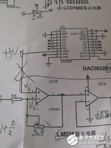 為什么圖中電路0832的8腳要和放大器的正向輸入端連接
