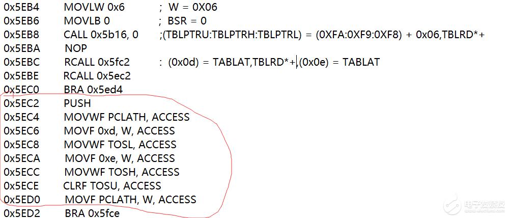 匯編代碼解讀   單片機型號:PIC18F25J11