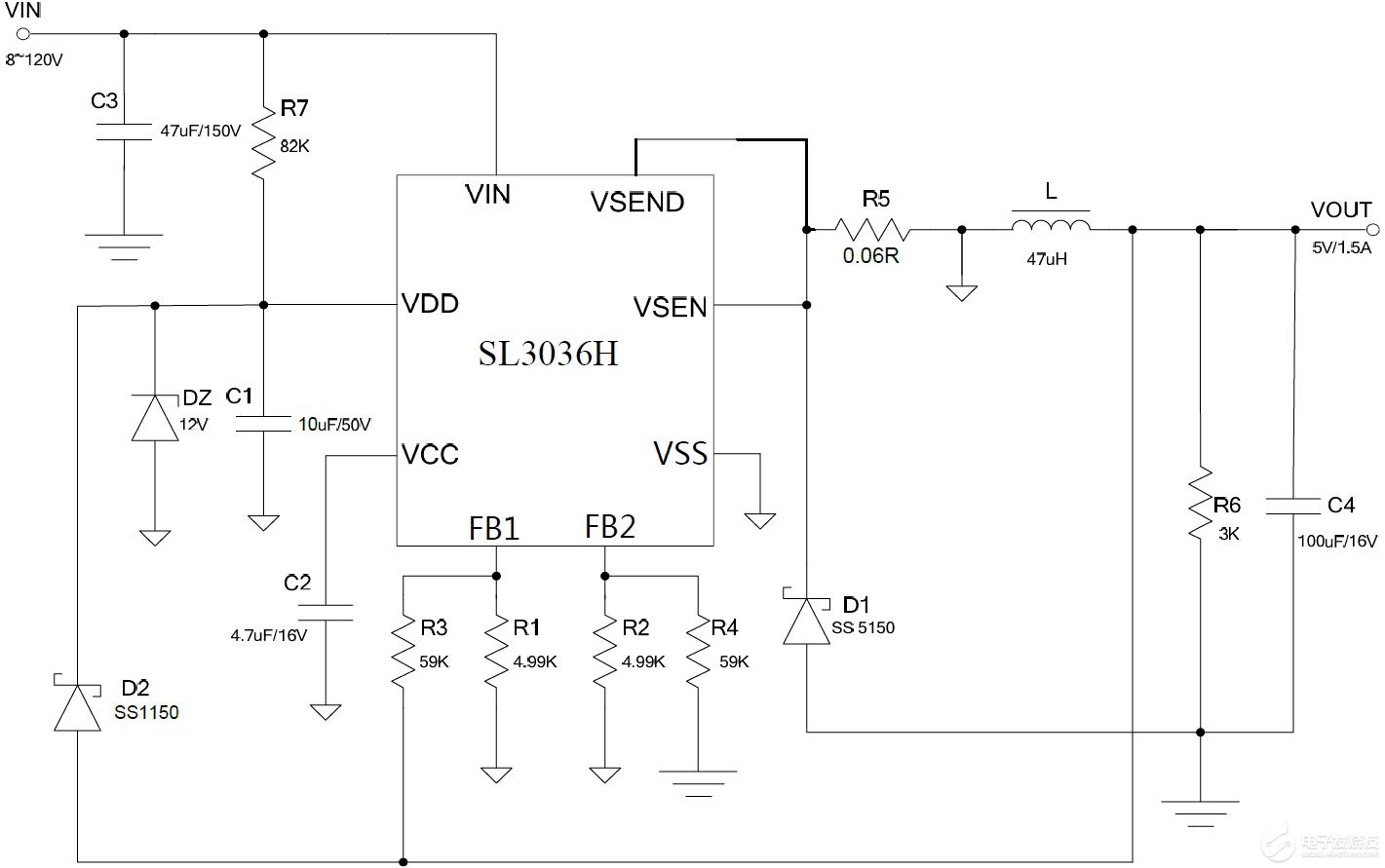 SL3036H 100V电摩GPS定位器电源芯片 120V电摩GPS定位器电源芯片