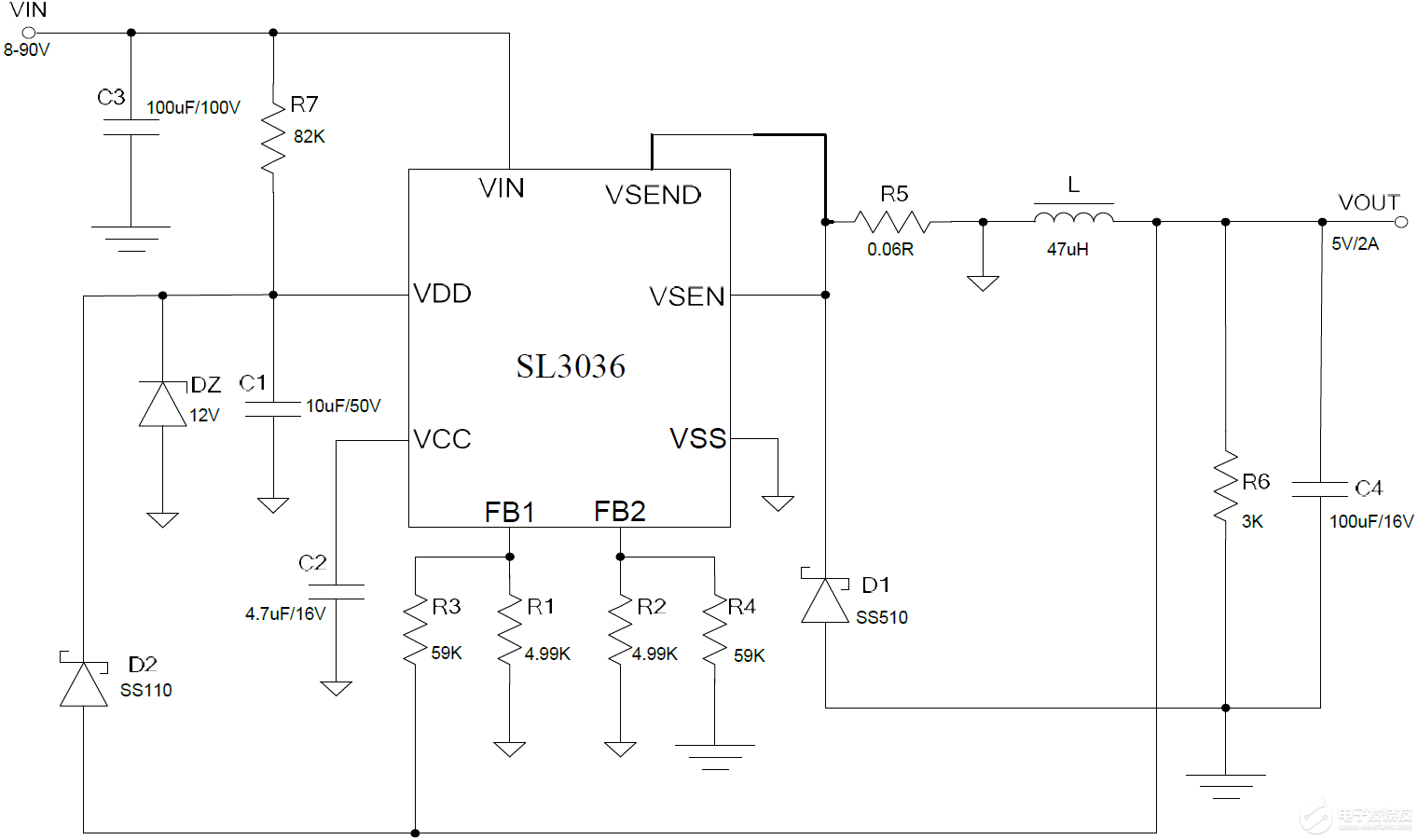 12V電單車防盜器電源芯片 24V電單車防盜器電源芯片 SL3036 內部集成100V場效應管