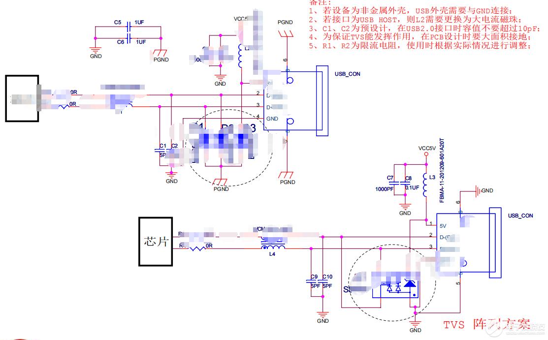【资料】USB HOST接口EMC设计标准电路