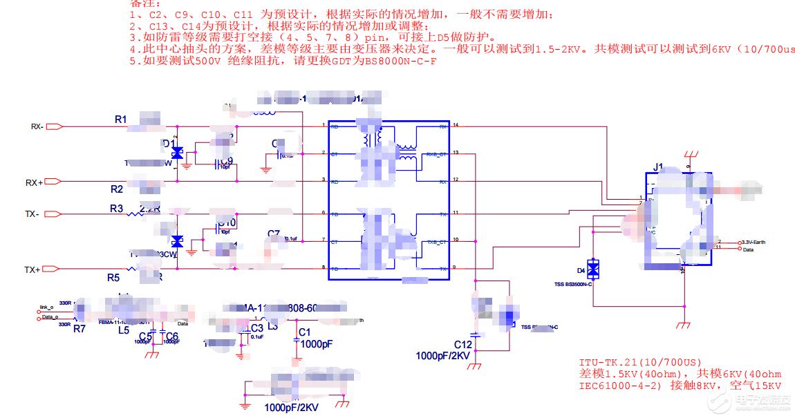 【资料】百兆以太网口EMC设计标准电路(中心抽头)